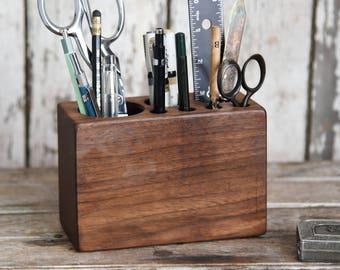 Walnut Desk Caddy Medium, Office Decor, Wood Men Gift, Office Desk Accessory, Pencil Holder, Wooden Tool, Office Supplies, Desk Organizer