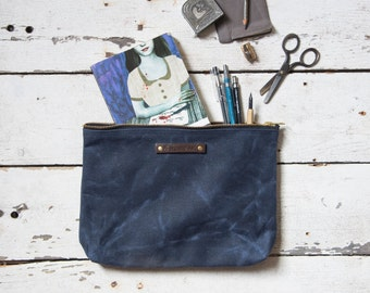 Travel Bag Men, Large Waxed Canvas Pouch, Rook, Indigo Make Up Bag, Waxed Canvas Clutch, Toiletry Case, Waxed Canvas Bag, Gift for Men
