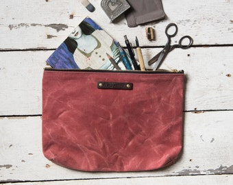 Make Up Zipper Bag, Large Waxed Canvas Pouch, Radish Rose, Waxed Canvas Clutch, Cosmetic Case, Waxed Canvas Bag, Zipper Pouch, Wife Gift