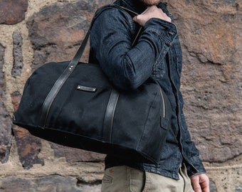Black Duffel Bag, Weekend Bag, Waxed Canvas Travel Bag, Overnight Bag by Peg and Awl   All Black Journey Bag