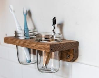 2 Mason Jar Wall Caddy, Minimalist Kitchen Storage, Home Organization by Peg and Awl   Landis