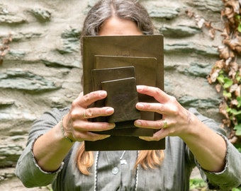 Green Leather Journal, Adventure Journal, Handbound Book by Peg and Awl | Carson Journal