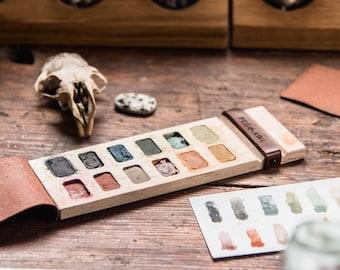Wood Paint Palette for Watercolor + Gouache 12 wells, Plein Air Painting, Travel Paint Kit by Peg and Awl | Iris Painter's Palette