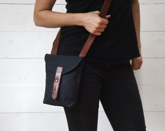 Waxed Canvas Hunter Satchel, Coal, Waxed Canvas Crossbody Bag, Gift for Men, Gift for Her, Travel Bag, Birthday Gift, Fathers Day Gift