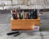 Large Reclaimed Wood Pen Holder, Desk Organizer, Pencil Holder by Peg and Awl | Large Desk Caddy