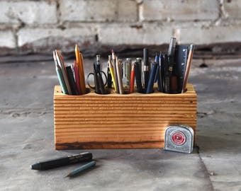 Personalize Desk Accessory, Large Reclaimed Wood Desk Caddy, Organizer Station, Artist Maker Gift for Men, Anniversary Gift, Peg and Awl