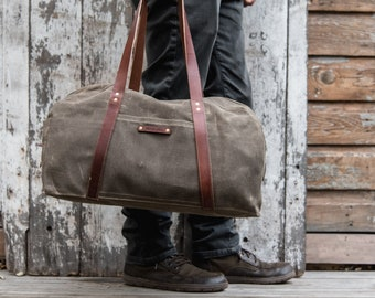 Canvas Duffle Bag, Waxed Canvas Bag with Leather Straps and Zipper by Peg and Awl   Journey Bag