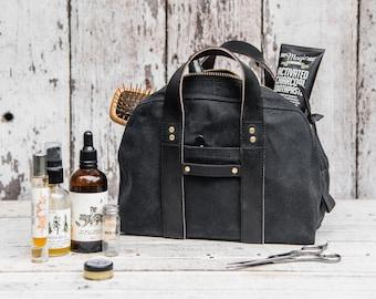 All Black Waxed Canvas Dopp Kit, Waxed Canvas Bag, Makeup Organizer by Peg and Awl | All Black Dopp Case