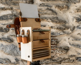 Scout Pochade Box for Oil + Acrylic Artists, Artist Box, Wood Easel Portable Studio by Peg and Awl