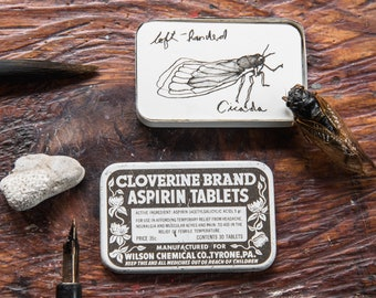 Cloverine Alternative Sketchbooks, Hot Press Watercolor Paper in a Vintage Tin by Peg and Awl