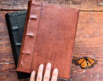 Hard Cover Leather Book, Leather Journal, Writing Journal, Rustic Journal, Leather Grimoire by Peg and Awl | Small Tome