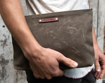 Waxed Canvas Zipper Pouch, Clutch Bag, Cosmetic Bag by Peg and Awl | Maker Pouch