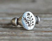 Sterling Silver Shepherds Purse Botanical Ring, Plant Jewelry, Engraved with Honey Bee Secret, Recycled, by Peg and Awl