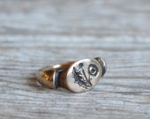 Sterling Silver Botanical Ring, Engraved Dandelion Ring with Honey Bee Secret, Recycled Metal, Herbal Love by Peg and Awl