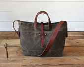 Waxed Canvas Crossbody Bag with Leather Straps, Shoulder Bag, Waxed Canvas Bag by Peg and Awl |  Waxed Canvas Tote