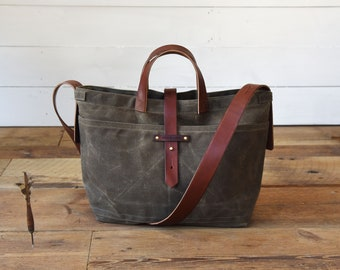 ceb9779c9cd Waxed Canvas Tote Bag with Zipper, Crossbody Bag in 7 Colors, Diaper Bag or  Everyday Carry.  250.00. Eligible orders ship free