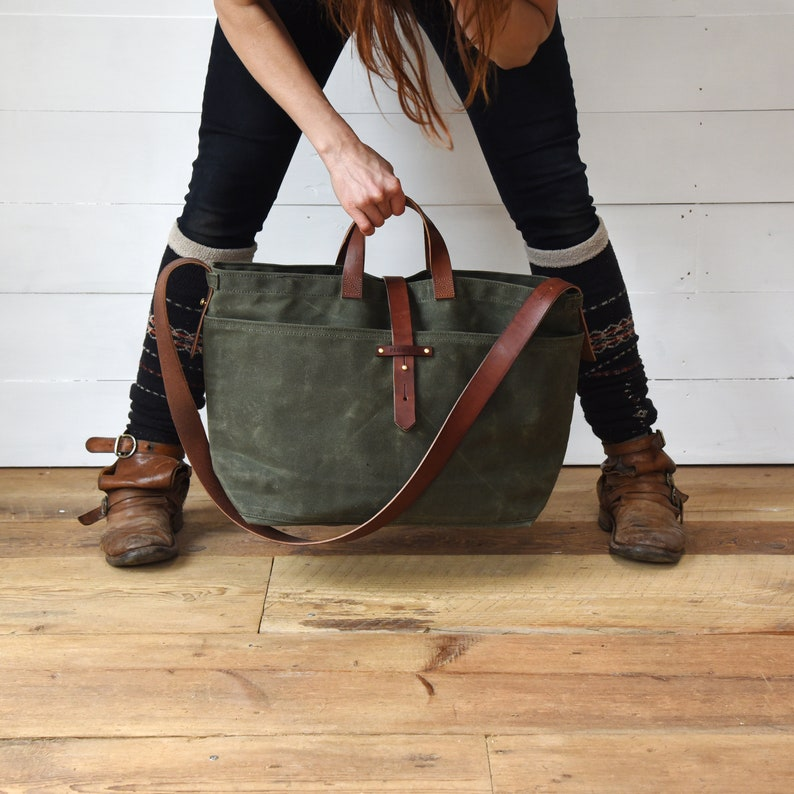 89673a2433c Large Waxed Canvas Tote Bag with Zipper, Crossbody Everyday Bag with  leather strap, by Peg and Awl