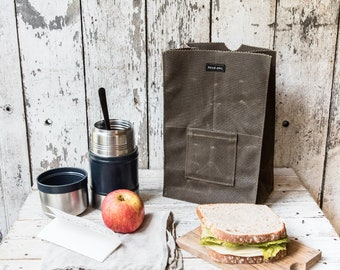 Waxed Canvas Lunch Tote, Reusable Lunch Bag, Zero Waste Bag by Peg and Awl | Marlowe Lunch Bag