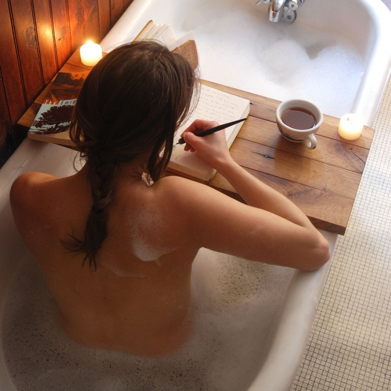 Sustainable Wood Bath Tray in Oak Natural Bath Caddy Rustic image 0