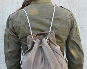Waxed Canvas Ditty Bag, Croaker Sack, Waxed Canvas Backpack, Drawstring Backpack, Canvas Bag, Canvas Gym Bag, Travel Bag, Gender Neutral