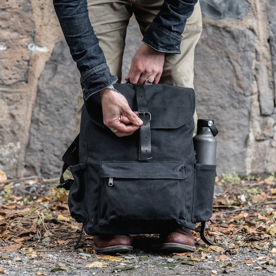 Delta Backpack Black Waxed Canvas Backpack with Brown Leather Details