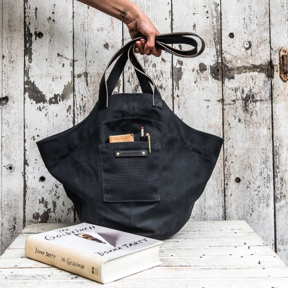 b9b66f2225d9 All Black Structured Bucket Bag with Top Handles Waxed Canvas