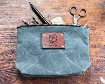 Chicken and Egg, Poison for Breakfast Waxed Canvas Pouch with Zipper by Peg and Awl | Keeper Pouch