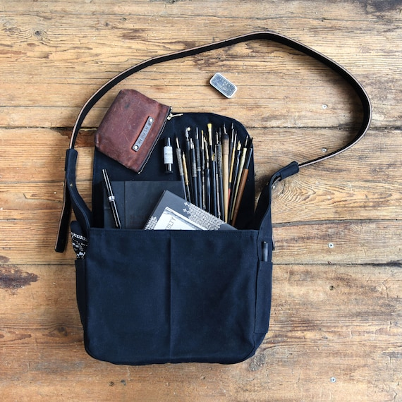 0e077c50f45b Waxed Canvas Messenger Bag with Leather Strap Crossbody Bag