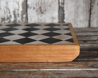 Reclaimed Wood Black + White Bishop Board, Statement Gift, Cutting Board, Table Centerpiece, Gift for Husband, Wooden Kitchen Decor for Her