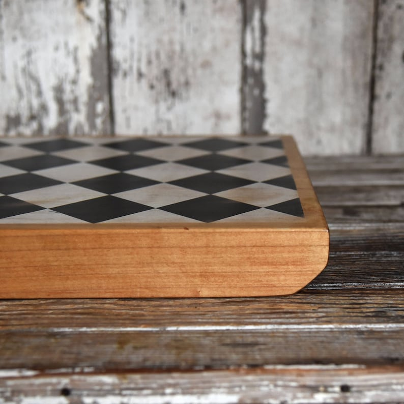 Hygge Centerpiece for Gathering by Peg and Awl Reclaimed Wood Black White Bishop Serving Board