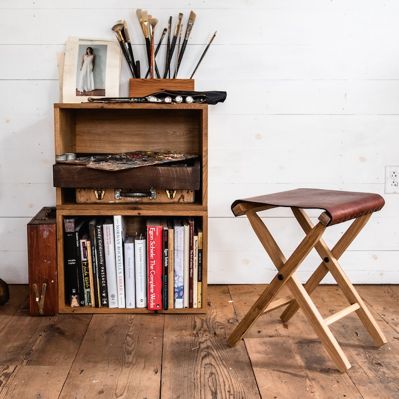 Folding Camp Chair Wood and Leather Folding Stool by Peg and image 0