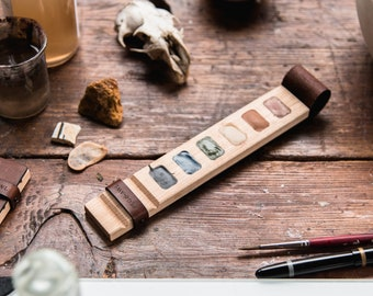 Wood Paint Palette for Watercolor + Gouache, Leather + Wood Plein Air Travel Kit by Peg and Awl | Tilda Painter's Palette