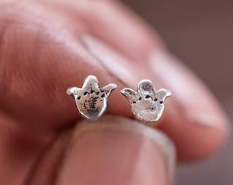 Gold Tulip Earrings, Sterling Silver Studs, Flower Earrings by Peg and Awl | Opal Foundlings