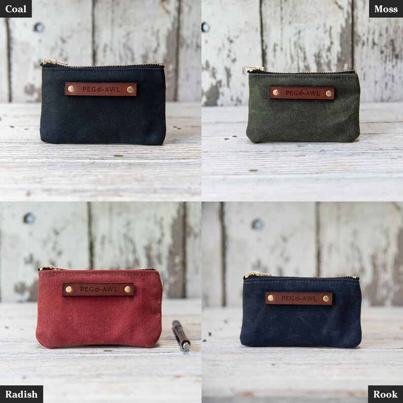 f8a4bf703c6b Waxed Canvas Spender Pouch Minimalist Small Zipper Wallet