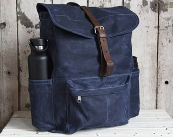 Waxed Canvas Backpack Rogue, Rook Indigo Rucksack, Wax Canvas Bag, Bike Bag, Canvas Travel Bag, Military Leather Straps, Gift for Woman, Him
