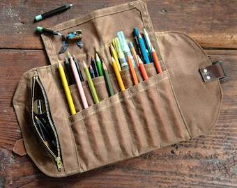 Roll Up Mini Pencil Case, Waxed Canvas and Leather, 12 pockets + 1 zipper pouch by Peg and Awl | Mini Sendak Artist Roll