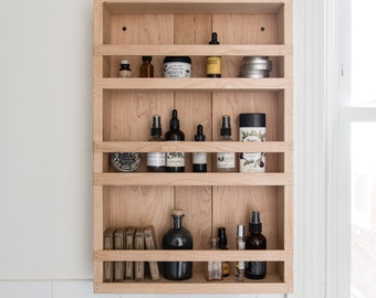 Wood Apothecary Cabinet, Kitchen Organization, Bathroom Decor by Peg and Awl
