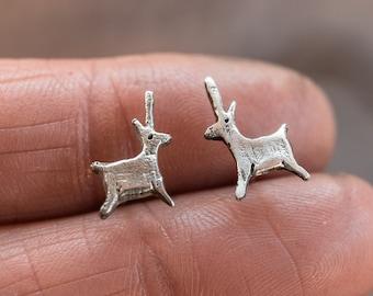 Unicorn Earrings, Animal Studs, Sterling Silver Earrings, 14k Gold Studs by Peg and Awl   Alder Foundlings