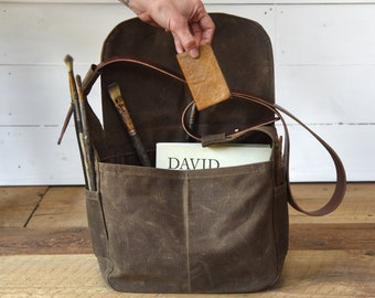 Waxed Canvas Messenger Bag, Crossbody bag, Shoulder Bag with leather strap by Peg and Awl | Finch Satchel