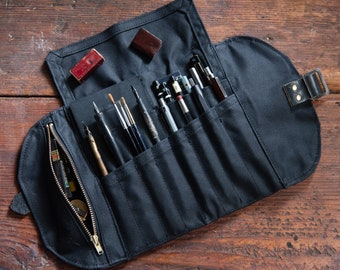 All Black Artist Roll, Waxed Canvas Pencil Case, Zipper Pouch by Peg and Awl | All Black Sendak Mini