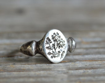 Sterling Silver Floral Ring, Flower Signet Ring, Nature Inspired Jewelry by Peg and Awl | Fever Few Ring TBC