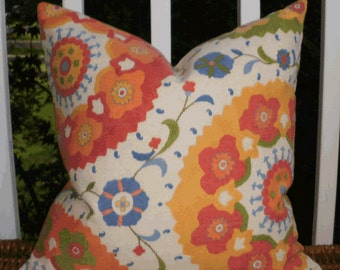 Indoor / Outdoor Decorative Pillow: Orange, Yellow, Green and Blue Suzani 18 X 18 Outdoor Pillow Cover
