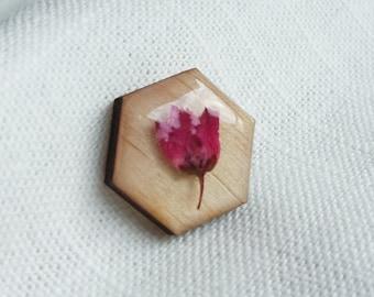 Wooden Rose Lapel Pin - Pink Pressed Flower Resin Pin