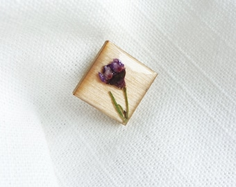 Purple Pressed Flower Wood and Resin Pin - Square Wooden Badge Pin