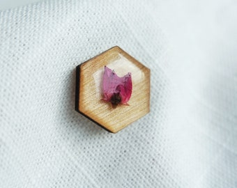 Wooden Rose Lapel Pin - Pink Pressed Florals Resin Pin