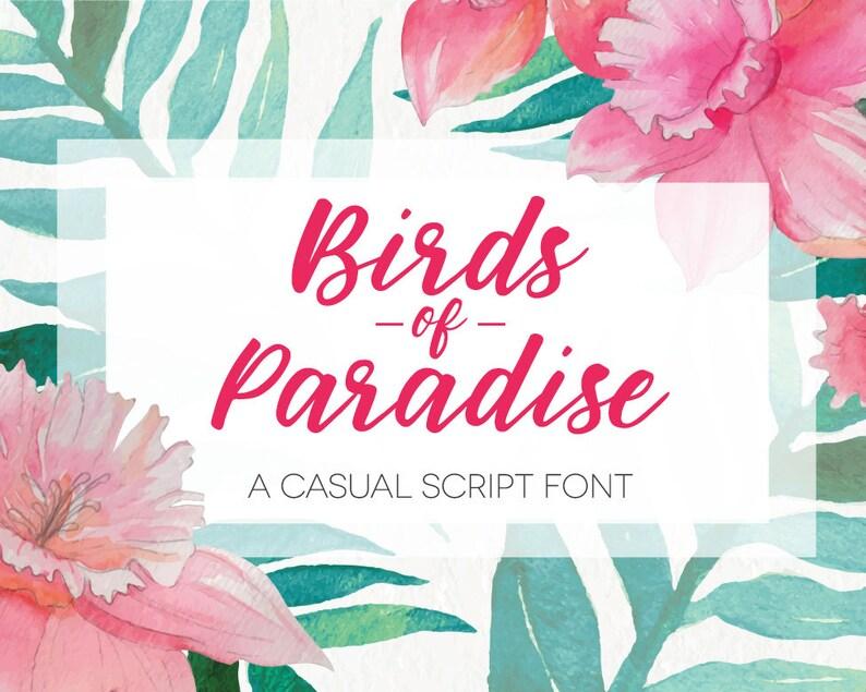 Hand Written Script Font  Birds of Paradise  Digital image 0
