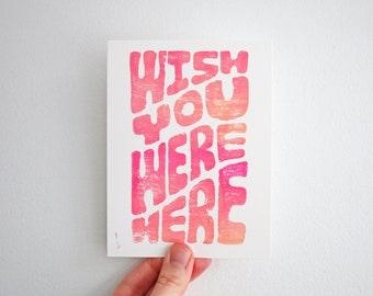 Hand Printed Post Card Set - Linocut Print - Wish You Were Here Cards