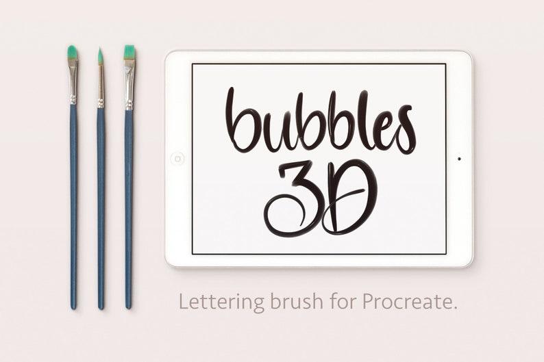Bubbles 3D Lettering Procreate Brush image 0