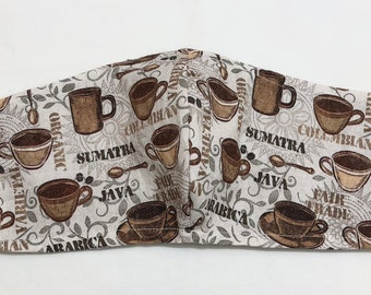 Coffee Face Mask. High Quality Cotton Fabric. Nose Wire and Inner Pocket for a Filter. Ear Cord Adjusts for proper size and comfort.Washable
