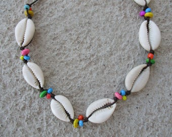 Choker Necklace made of cowrie Shells and multi colored wood beads on Brown Cord that is both waterproof and Adjustable in size